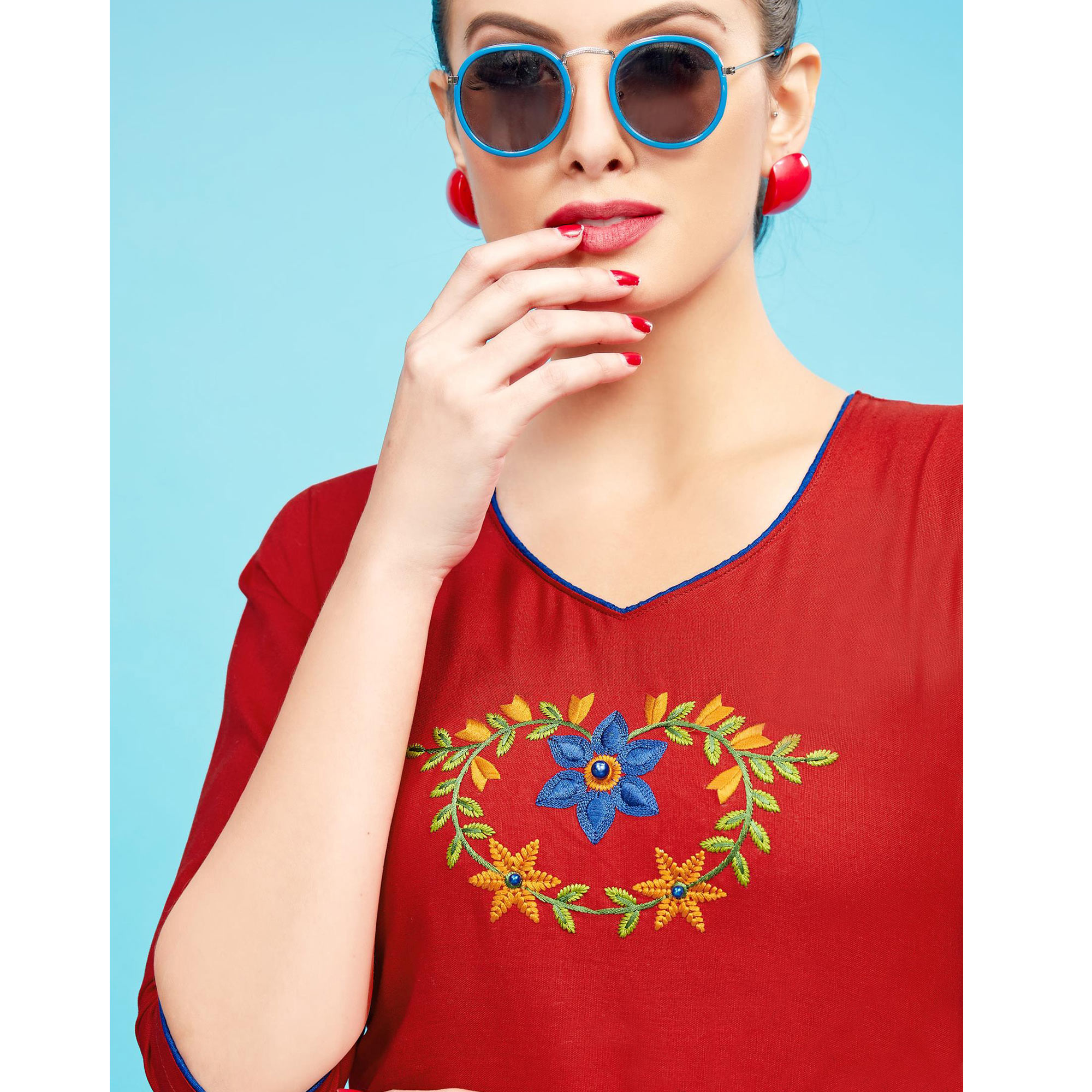 Attractive Red Colored Embroidered Partywear Cotton Kurti