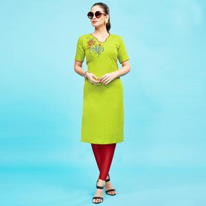 Classy Light Green Colored Embroidered Partywear Cotton Kurti