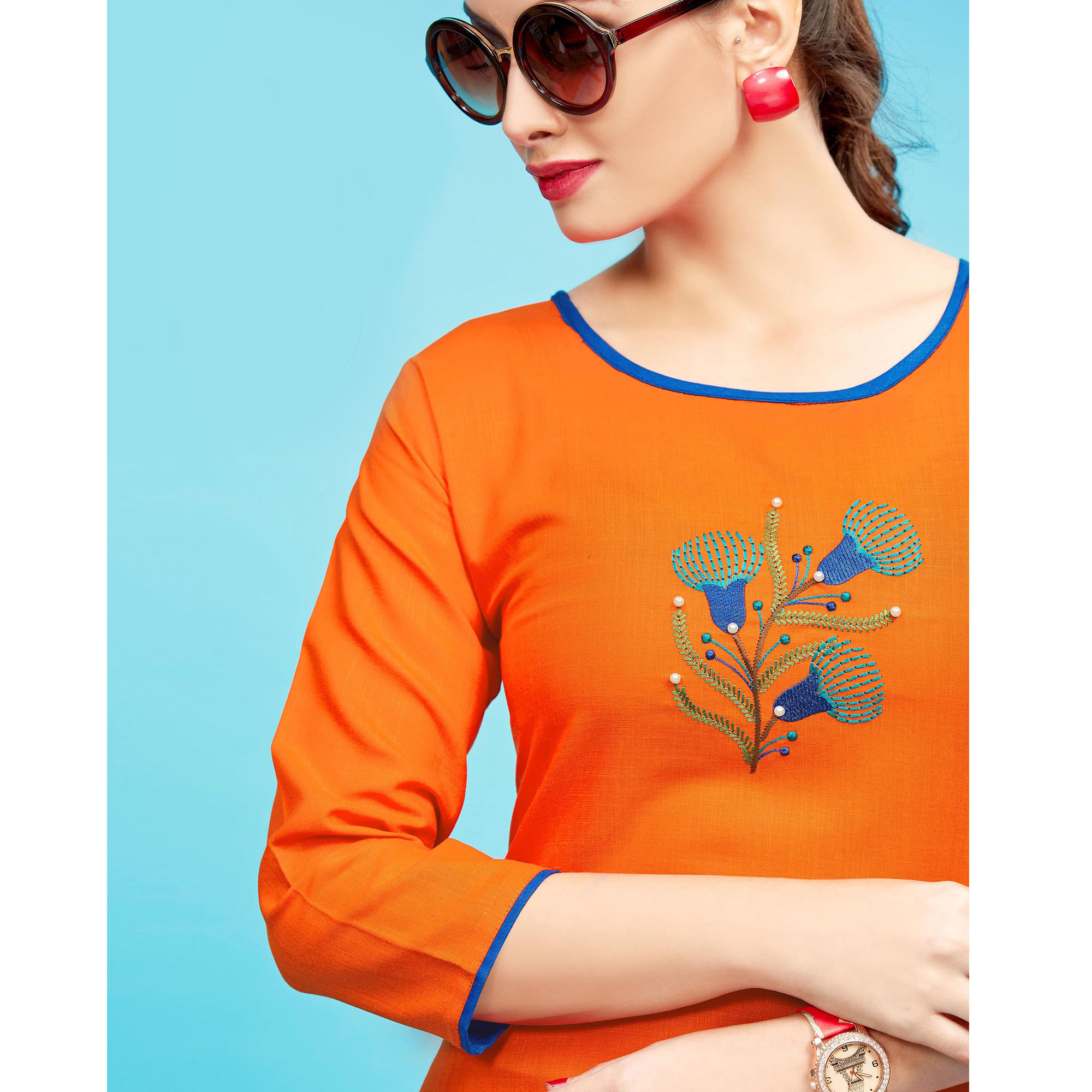 Trendy Orange Colored Embroidered Partywear Cotton Kurti
