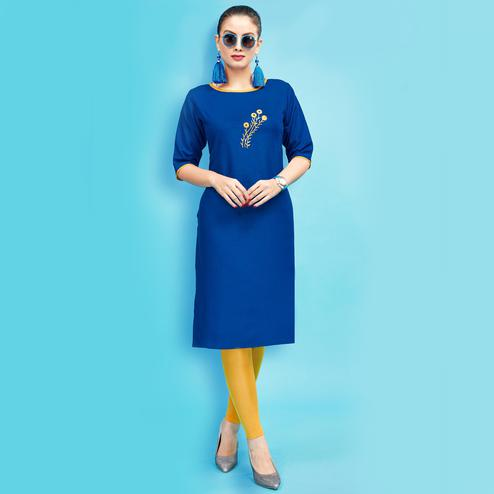Beautiful Blue Colored Embroidered Partywear Cotton Kurti