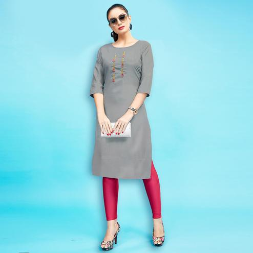 Gleaming Gray Colored Embroidered Partywear Cotton Kurti