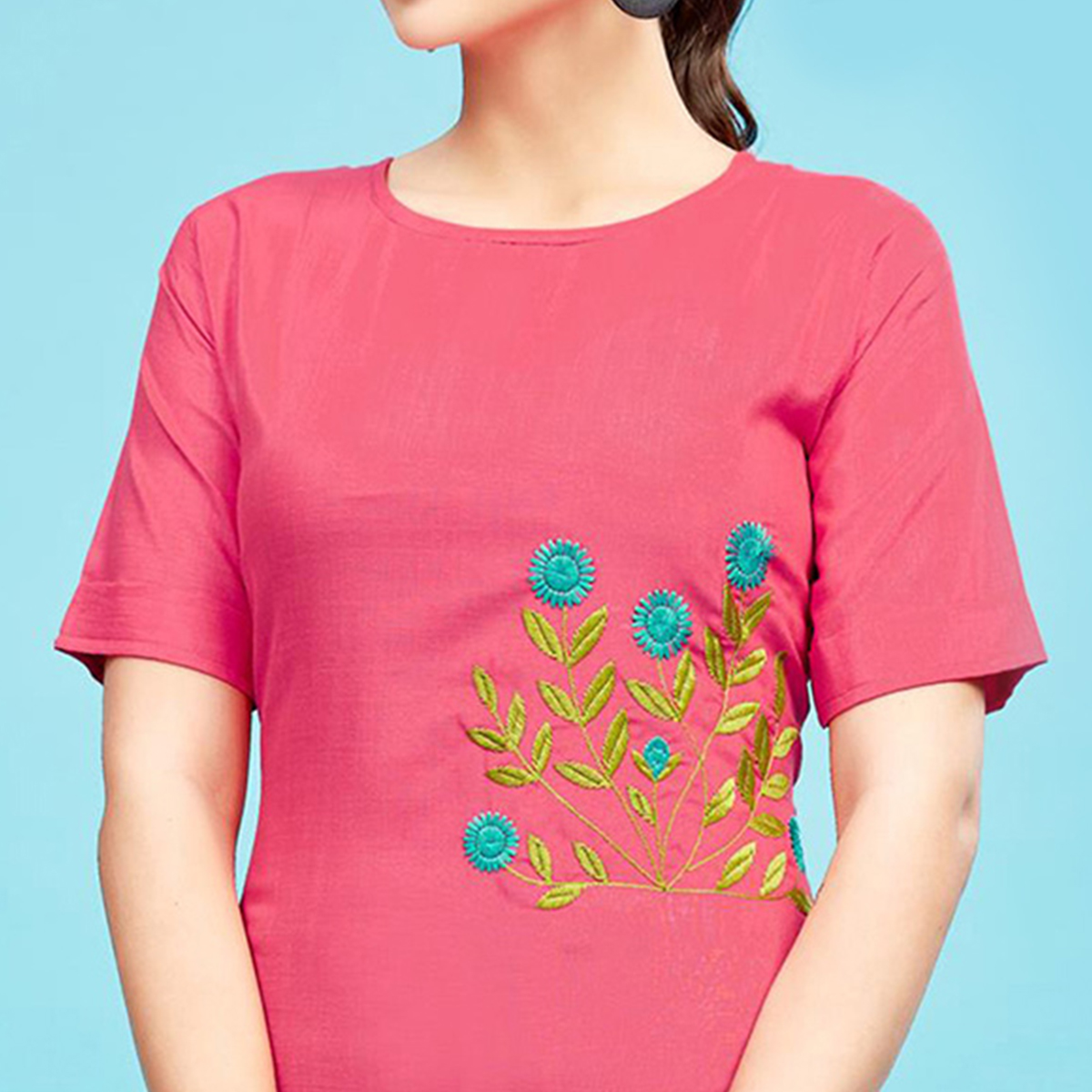 Charming Pink Colored Embroidered Partywear Cotton Kurti