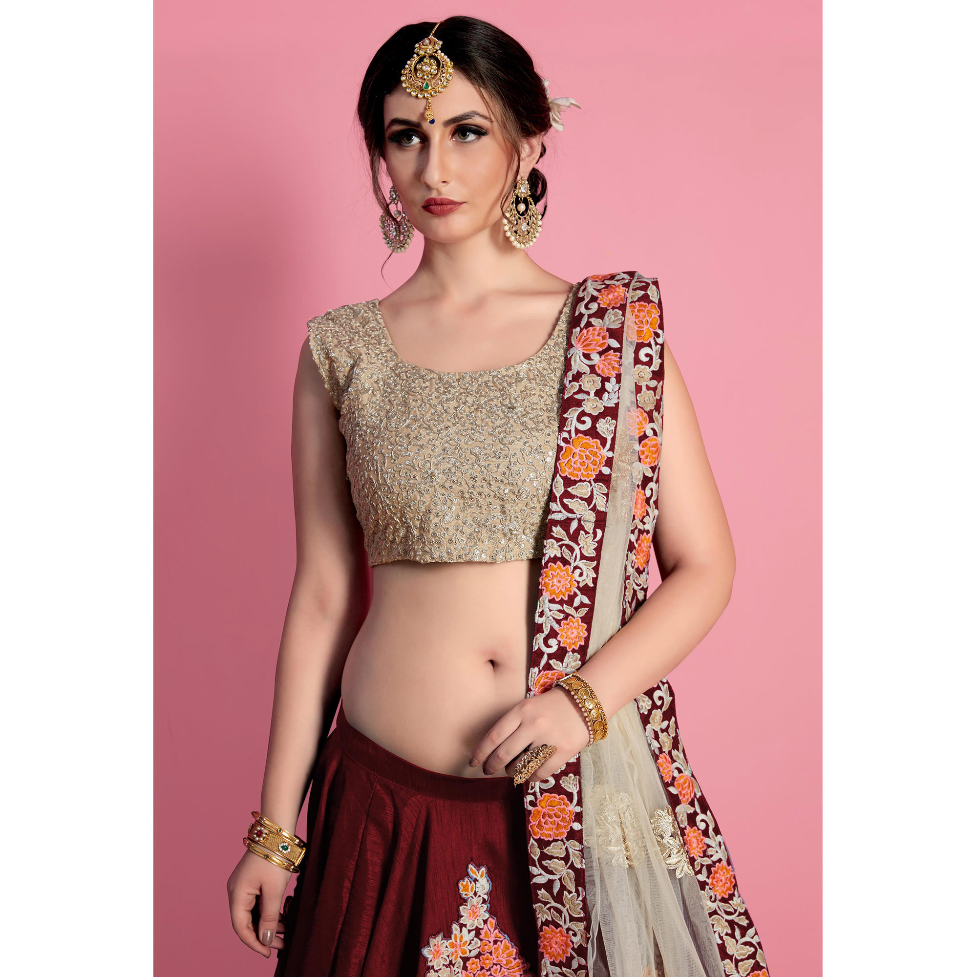 Intricate Maroon Colored Party Wear Embroidered Raw Silk Lehenga Choli