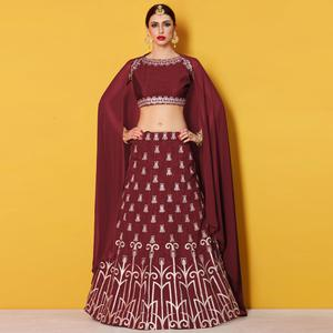 Desirable Maroon Colored Party Wear Embroidered Art Silk Lehenga Choli