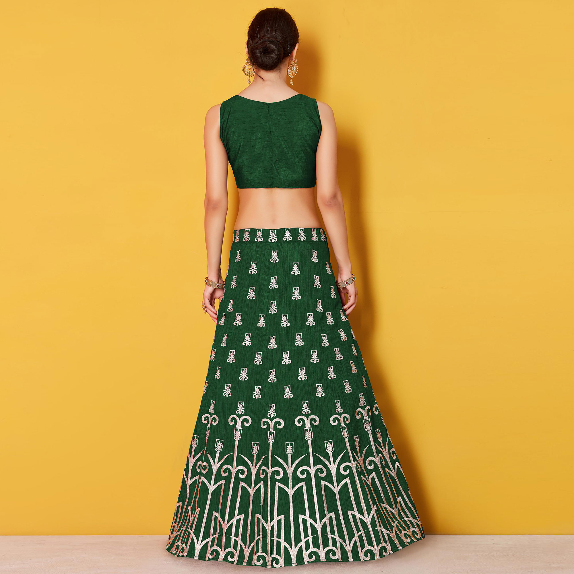 Sophisticated Green Colored Party Wear Embroidered Art Silk Lehenga Choli