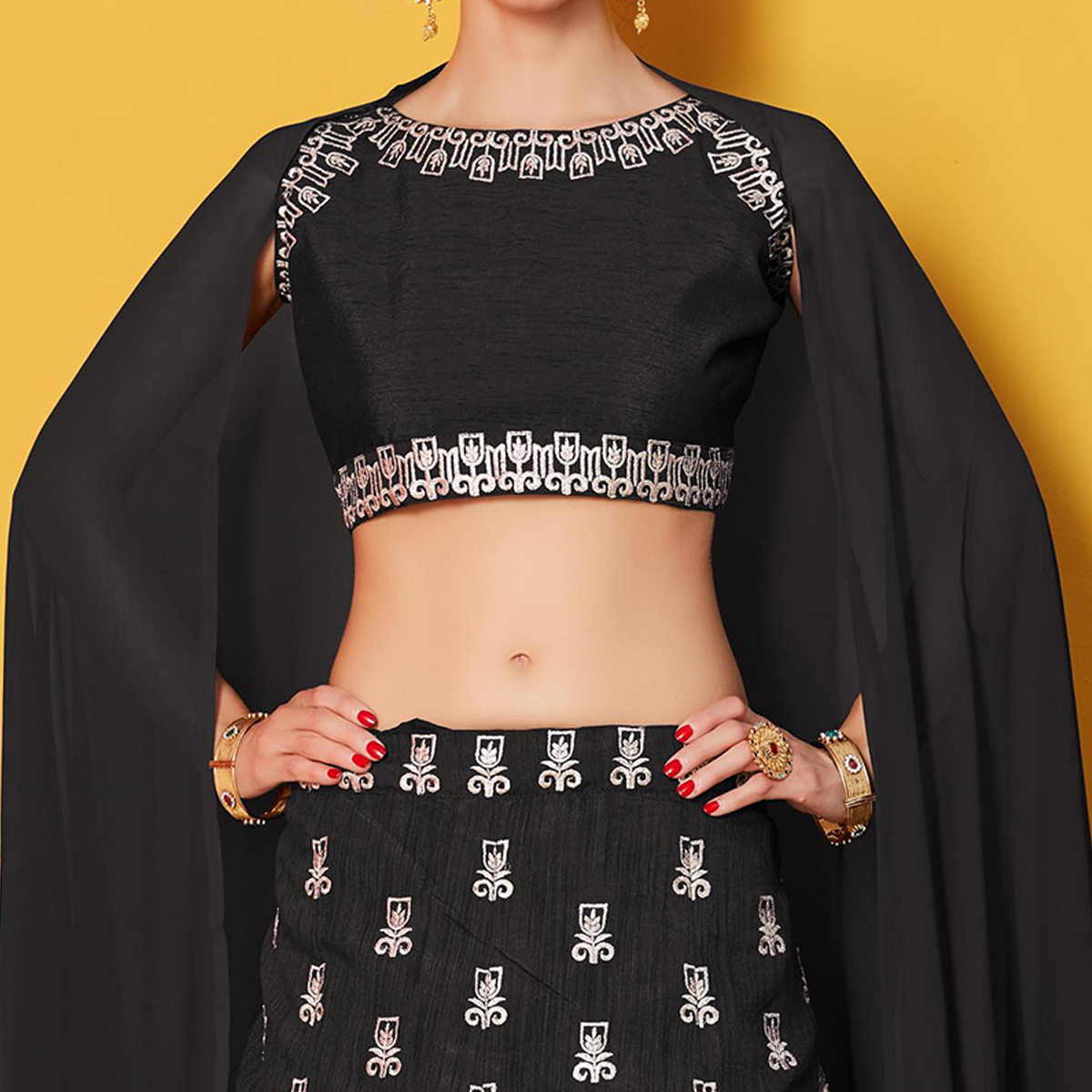 Demanding Black Colored Party Wear Embroidered Art Silk Lehenga Choli