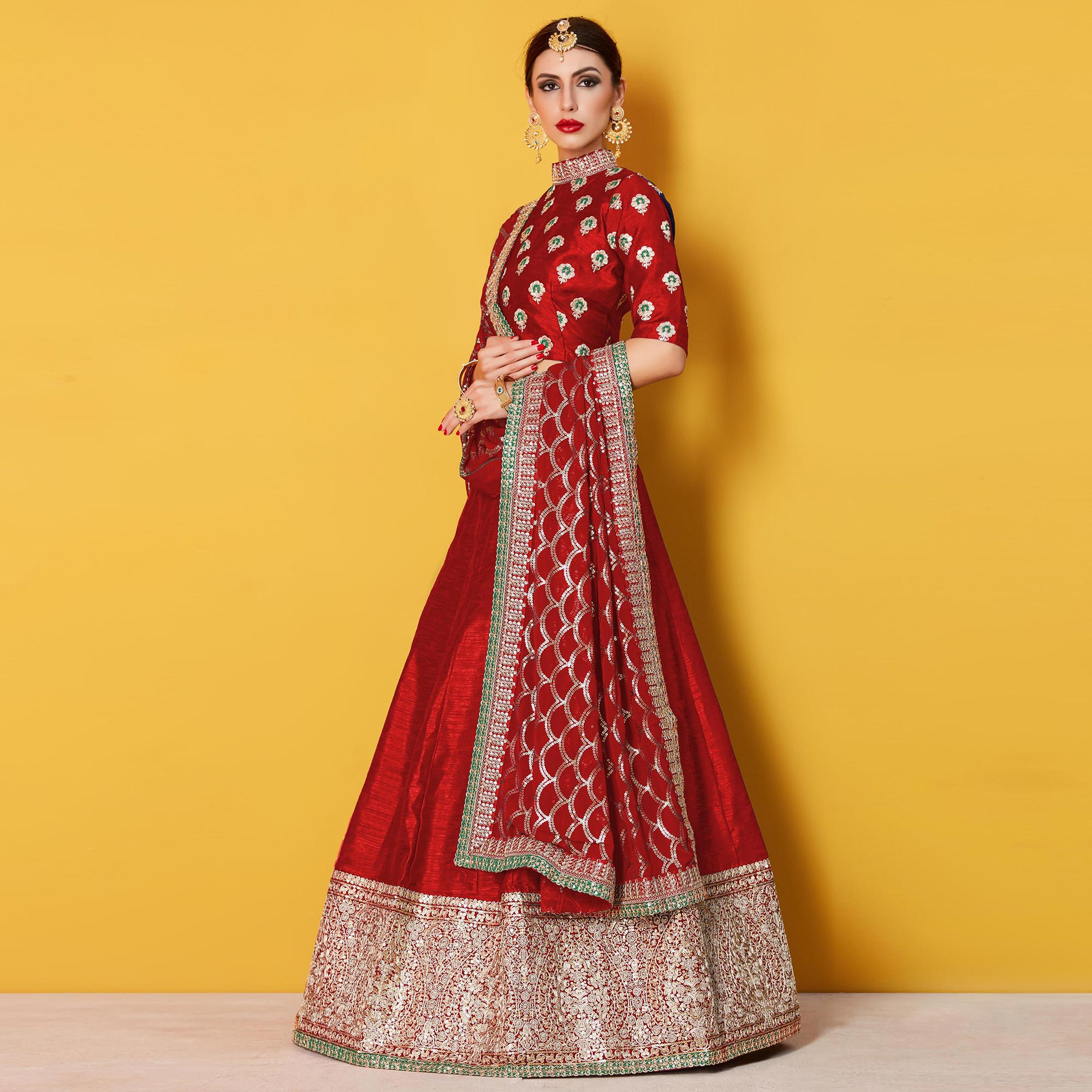 Pleasant Red Colored Party Wear Embroidered Art Silk Lehenga Choli
