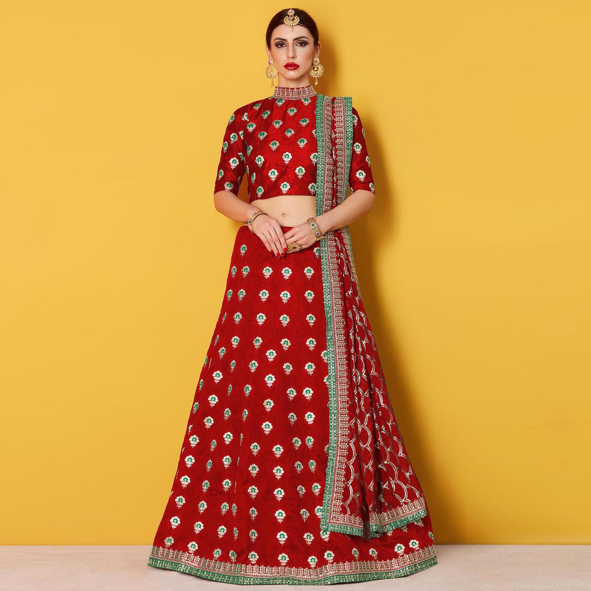 Unique Red Colored Party Wear Embroidered Art Silk Lehenga Choli