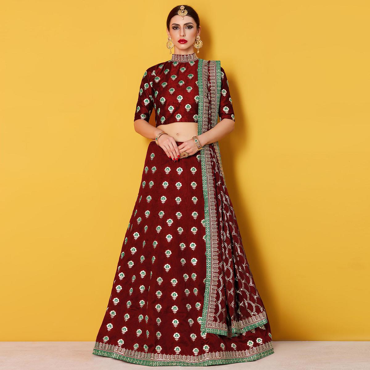 Refreshing Maroon Colored Party Wear Embroidered Art Silk Lehenga Choli