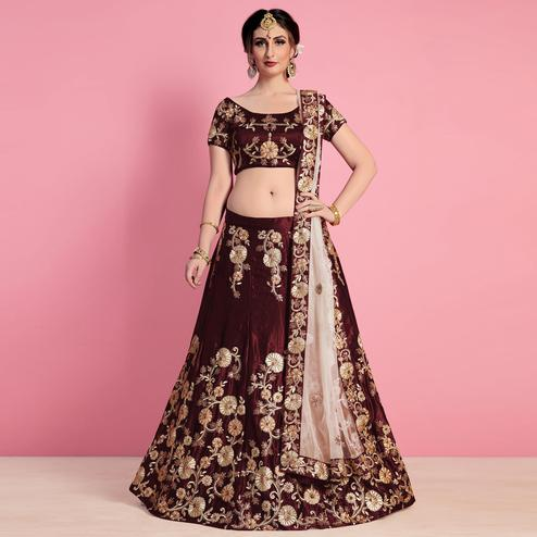 Elegant Maroon Colored Party Wear Embroidered Velvet Silk Lehenga Choli
