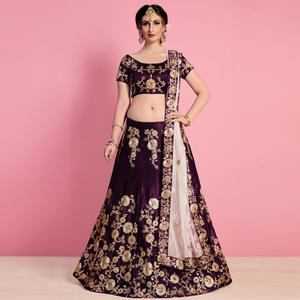 Alluring Purple Colored Party Wear Embroidered Velvet Silk Lehenga Choli