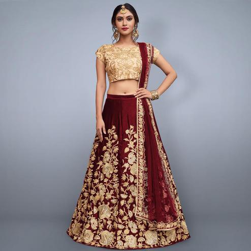 Sensational Maroon Colored Party Wear Embroidered Velvet Silk Lehenga Choli