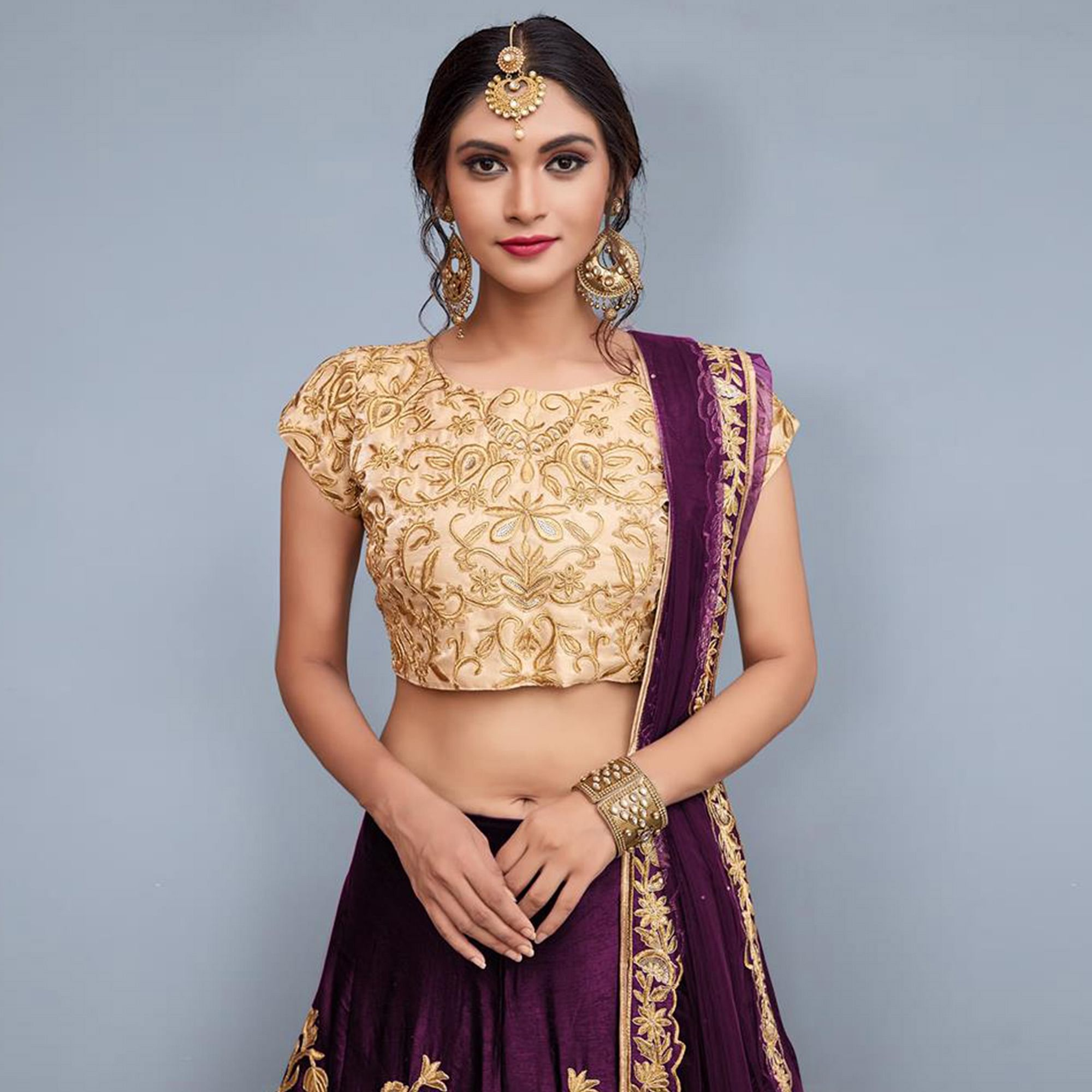 Opulent Purple Colored Party Wear Embroidered Velvet Silk Lehenga Choli
