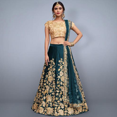 Dazzling Rama Green Colored Party Wear Embroidered Velvet Silk Lehenga Choli