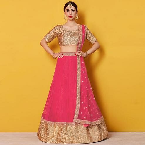 Flattering Pink Colored Party Wear Embroidered Net Lehenga Choli