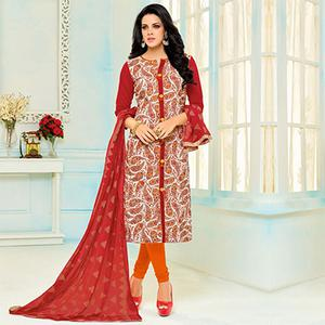 Radiant White - Red Chanderi Cotton Printed Suit