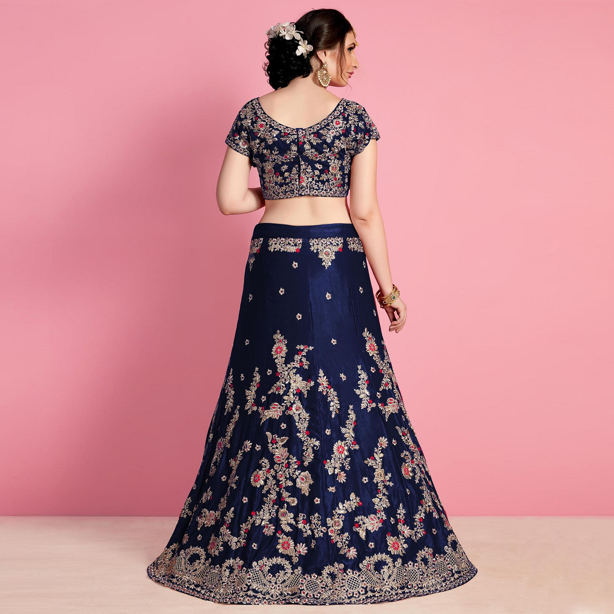 Breathtaking Navy Blue Colored Party Wear Embroidered Velvet Silk Lehenga Choli