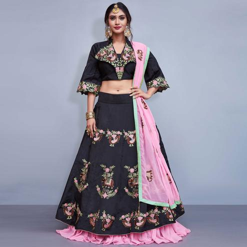 Elegant Black Colored Party Wear Fancy Tapetta Silk Lehenga