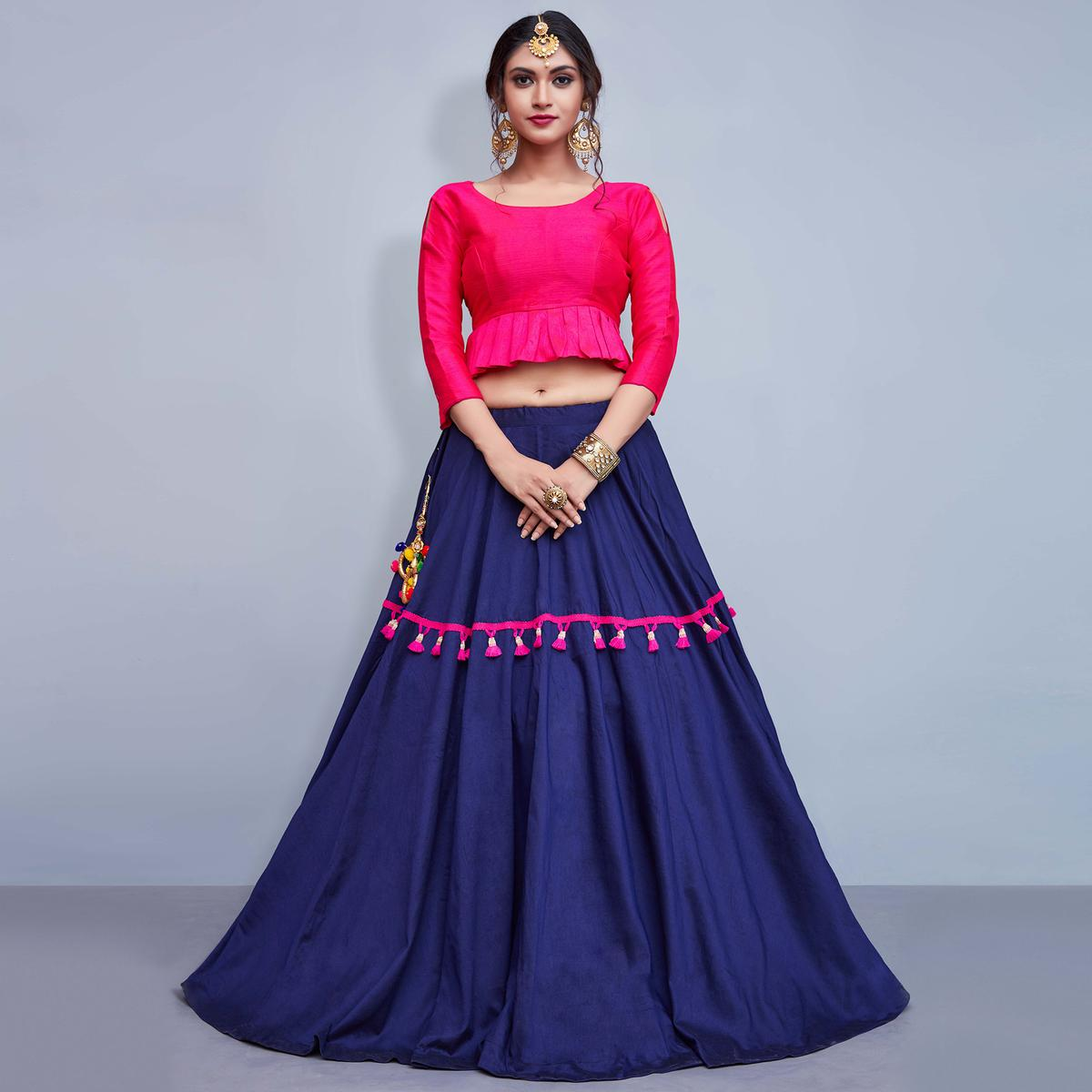 Alluring Dark Blue Colored Party Wear Fancy Cotton Lehenga