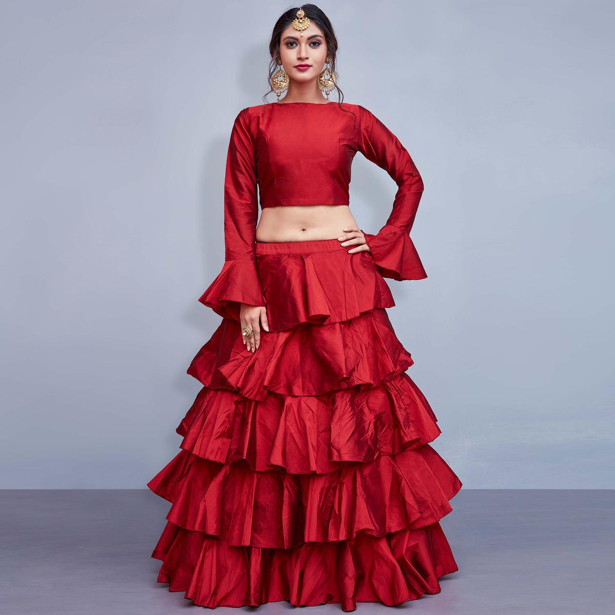 Radiant Red Colored Party Wear Fancy Tapetta Silk Lehenga