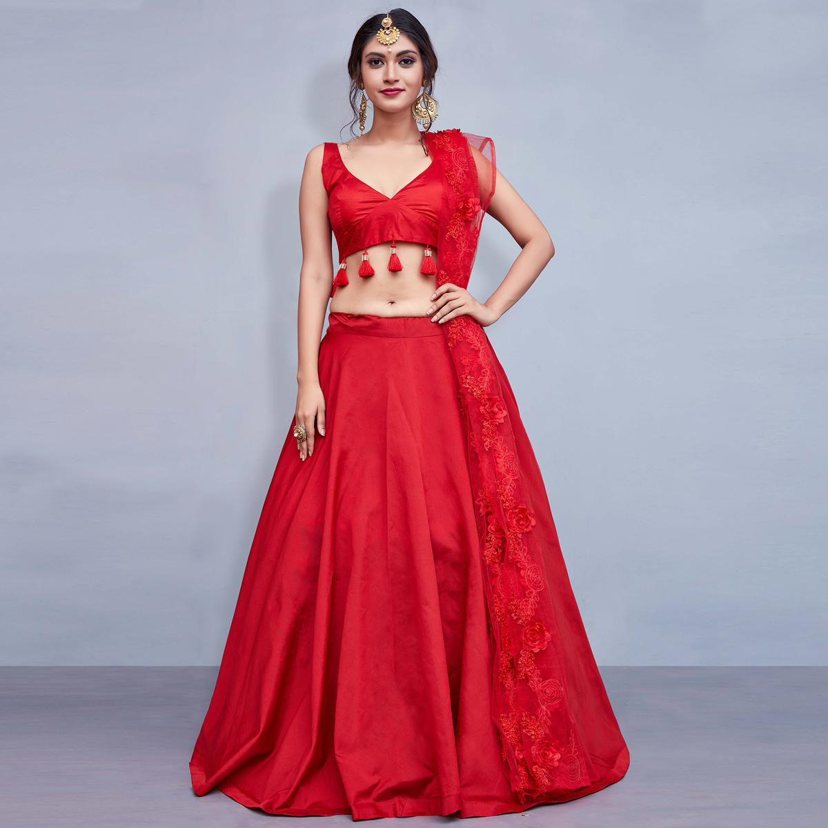 Sensational Red Colored Party Wear Fancy Tapetta Silk Lehenga