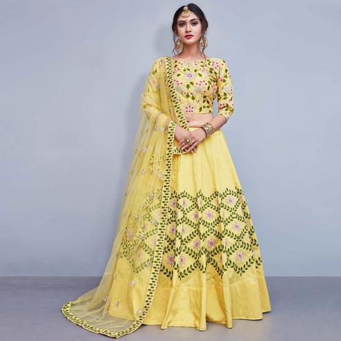 Pleasant Light Yellow Colored Party Wear Fancy Tapetta Silk Lehenga