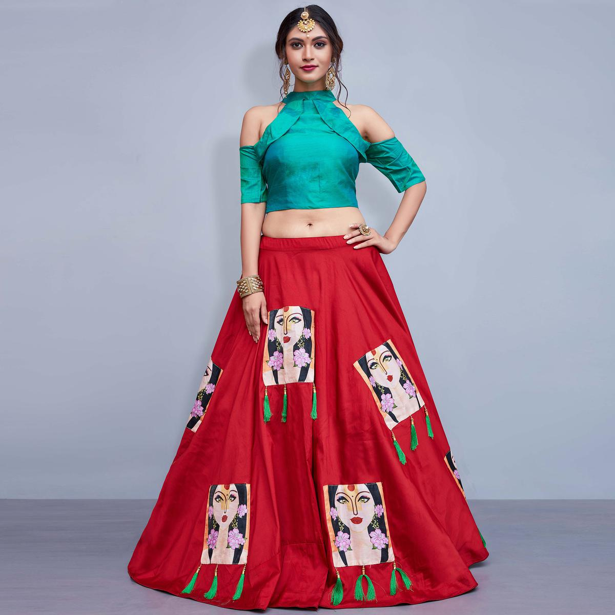 Intricate Red Colored Party Wear Fancy Tapetta Silk Lehenga