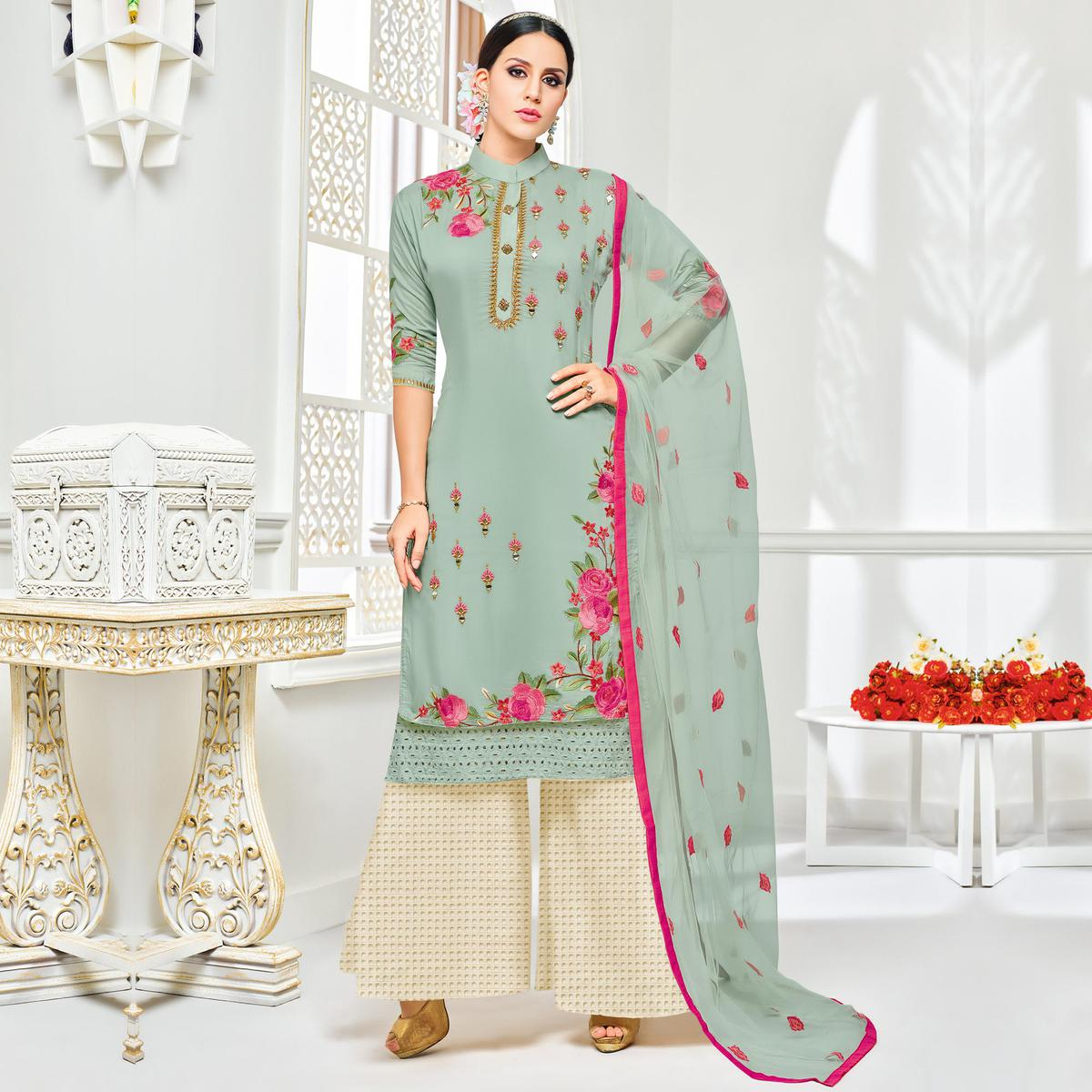 Arresting Gray Colored Partywear Embroidered Pure Cotton Silk Palazzo Suit