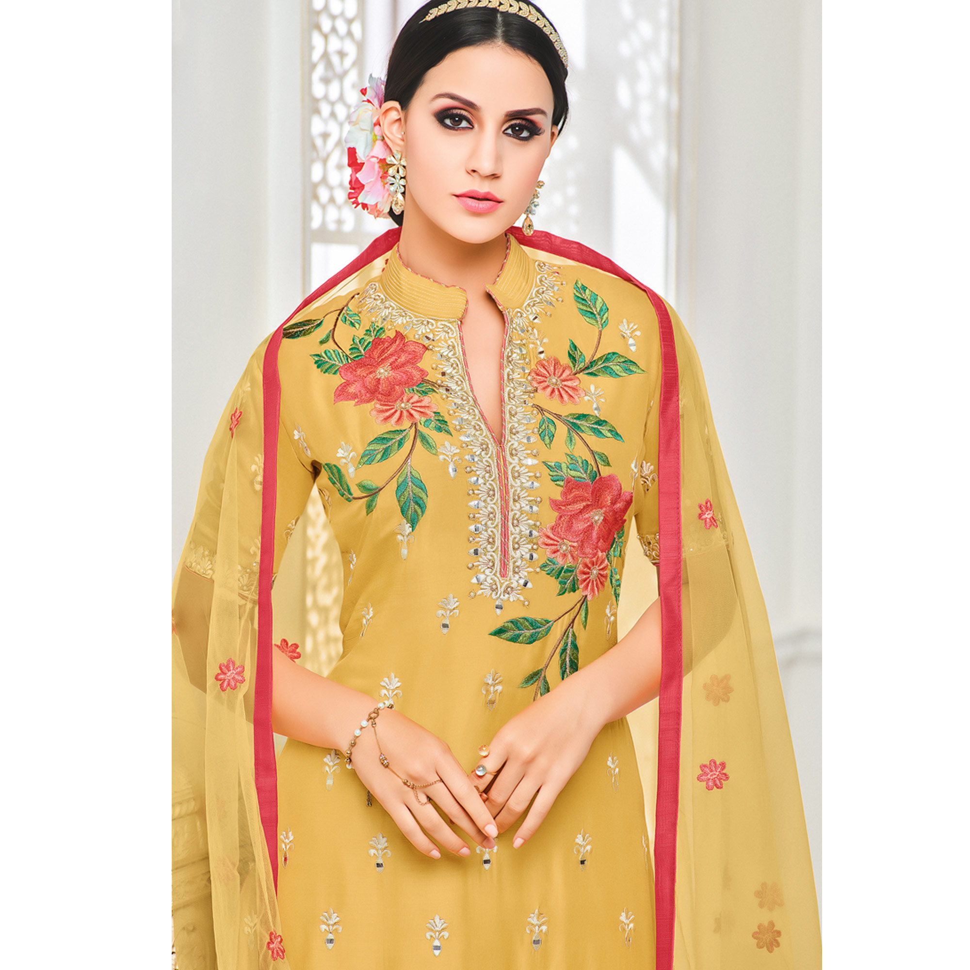 Marvellous Yellow Colored Partywear Embroidered Pure Cotton Silk Palazzo Suit