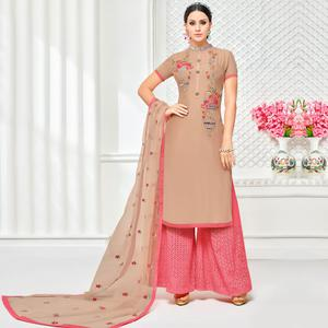Fantastic Light Brown Colored Partywear Embroidered Pure Cotton Silk Palazzo Suit