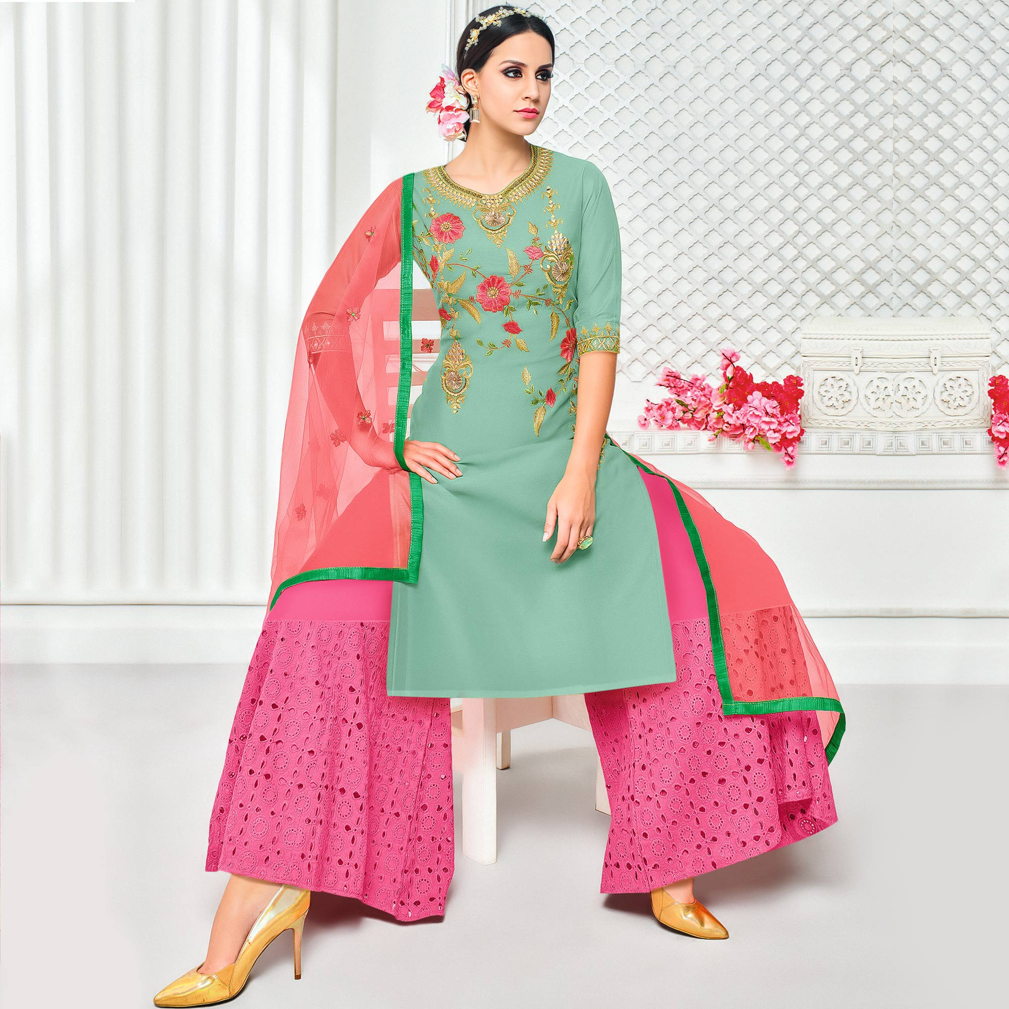 Stunning Light Turquoise Green Colored Partywear Embroidered Pure Cotton Silk Palazzo Suit
