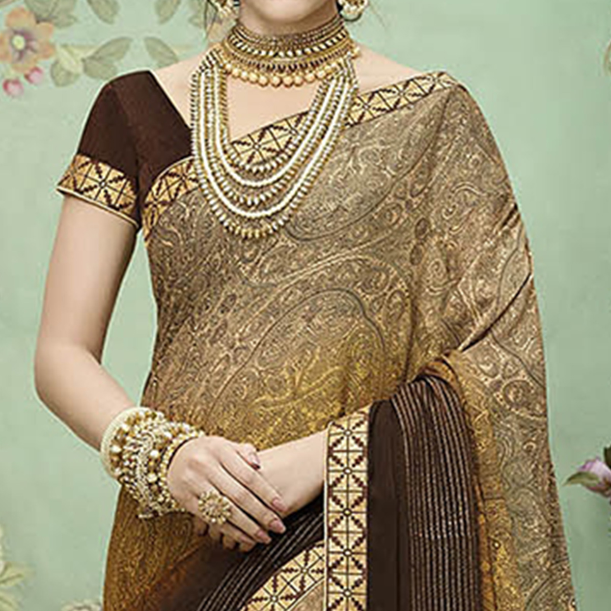 Groovy Brown Colored Casual Printed Chiffon Saree