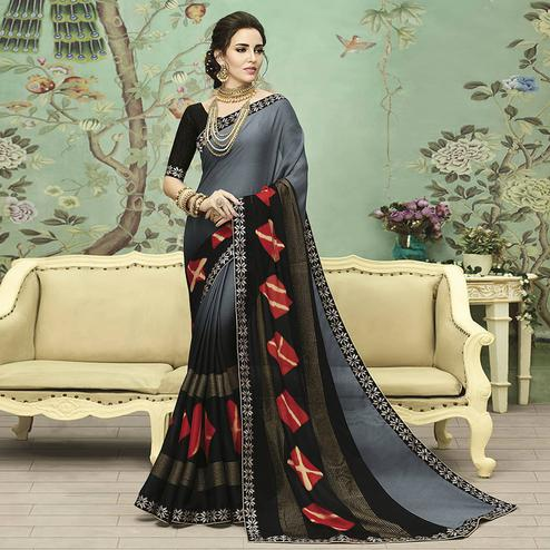 Gleaming Gray Colored Casual Printed Chiffon Saree