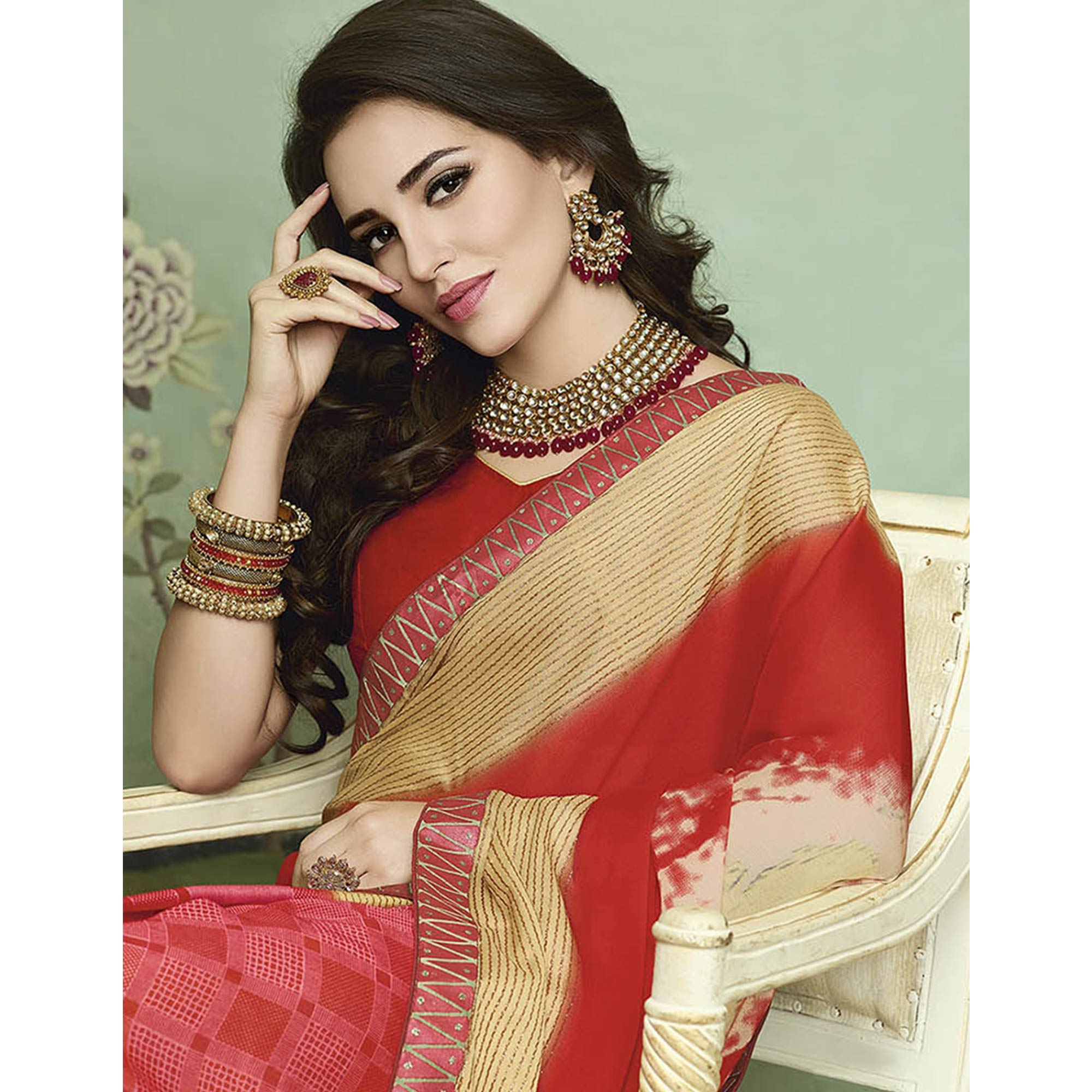 Beautiful Red Colored Casual Printed Chiffon Saree