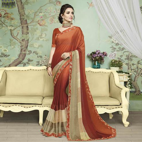 Classy Rust Orange Colored Casual Printed Chiffon Saree