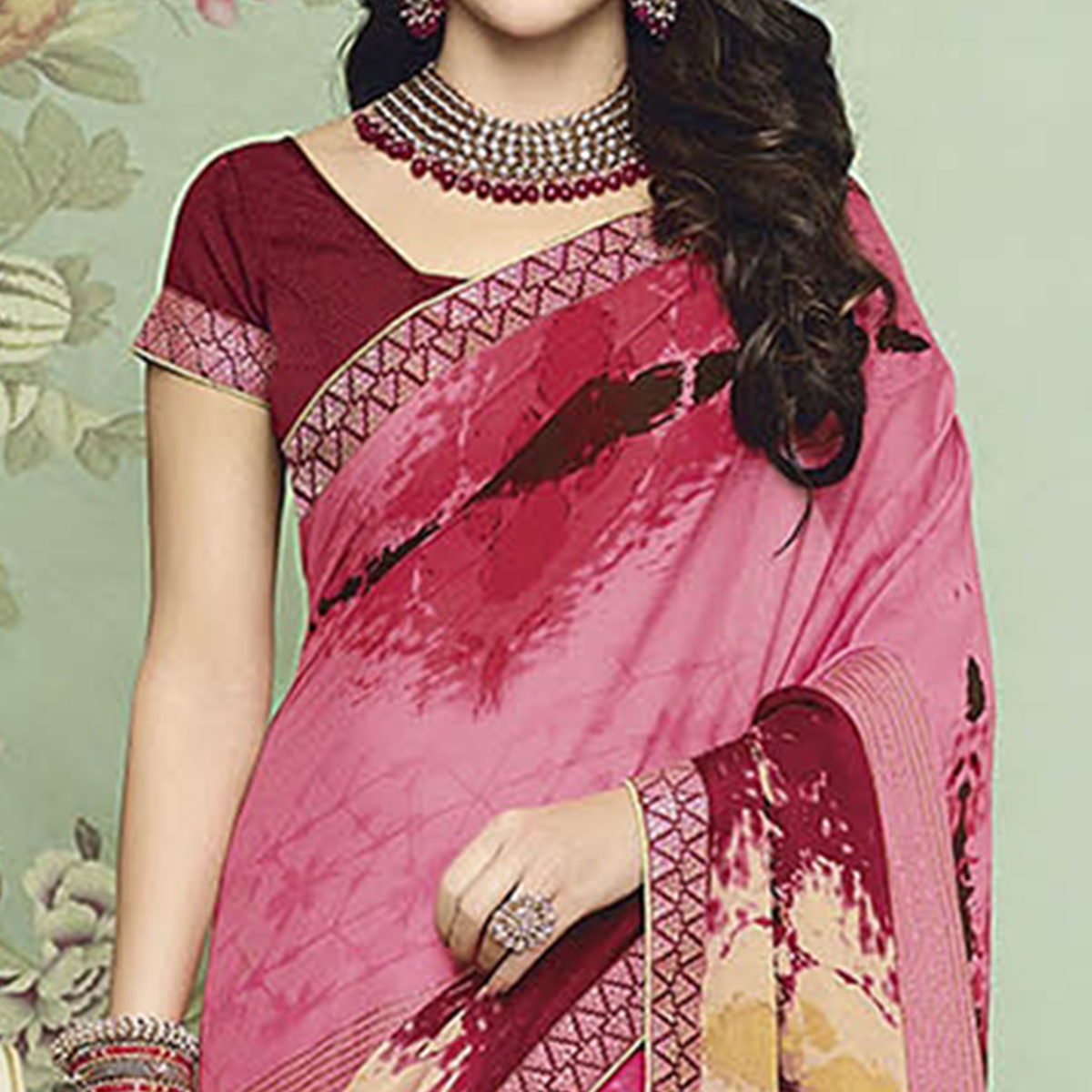 Pretty Pink Colored Casual Printed Chiffon Saree
