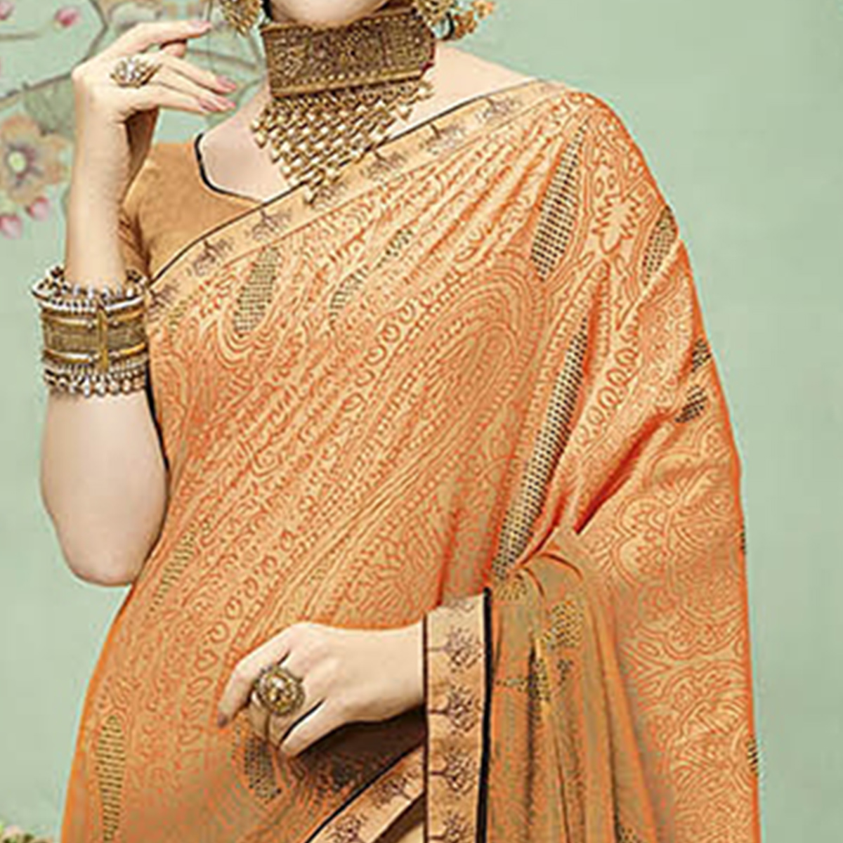 Trendy Light Orange Colored Casual Printed Chiffon Saree