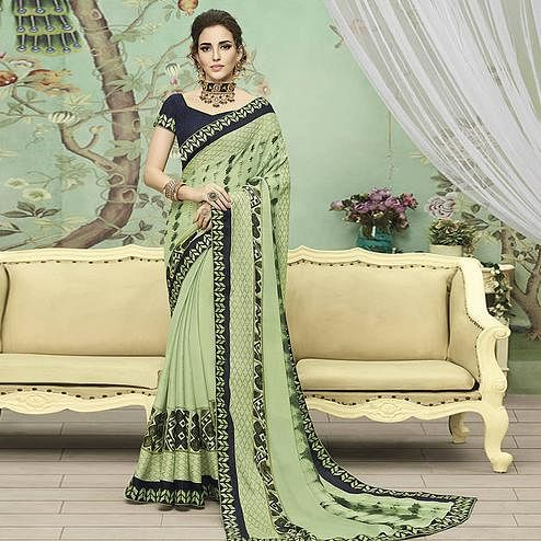 Amazing Light Green Colored Casual Printed Chiffon Saree
