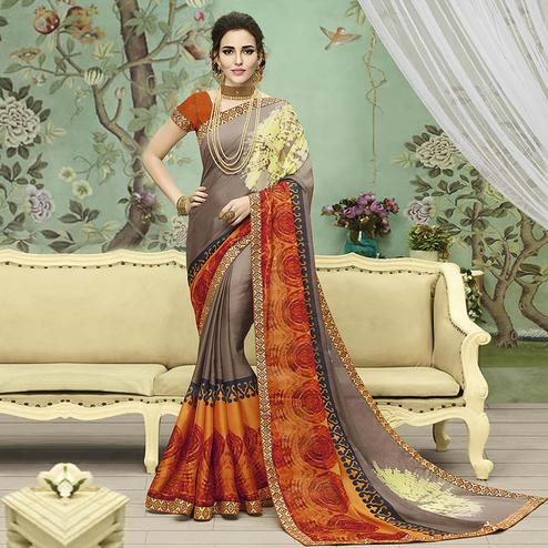 Eye-Catching Gray Colored Casual Printed Chiffon Saree