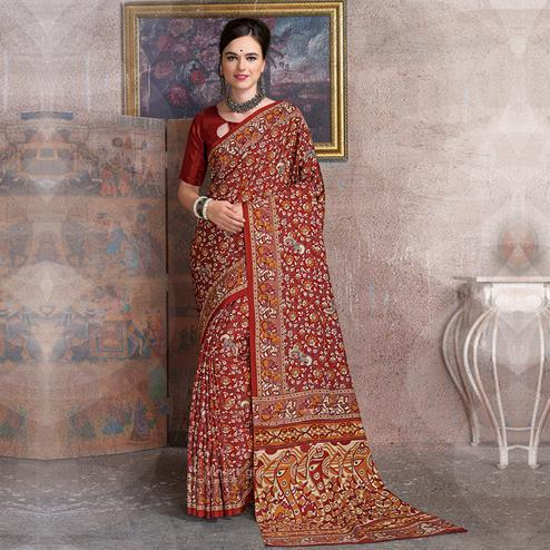 Elegant Red Colored Kalamkari Printed Art Silk Saree