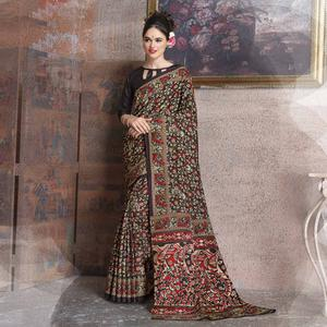 Beautiful Black Colored Kalamkari Printed Art Silk Saree