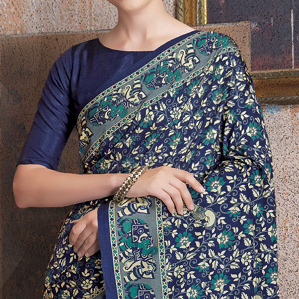 Attractive Blue Colored Kalamkari Printed Art Silk Saree