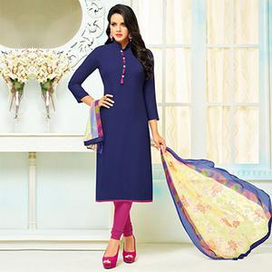 Beautifull Navy Blue Collar Neck Chanderi Cotton Suit