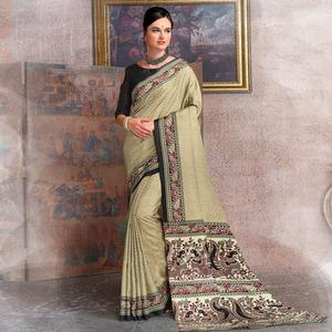 Groovy Beige-Black Colored Kalamkari Printed Art Silk Saree