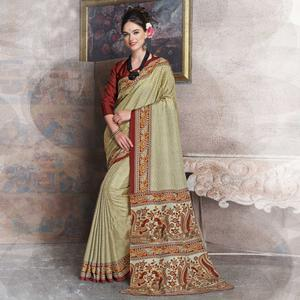 Blooming Beige-Red Colored Kalamkari Printed Art Silk Saree