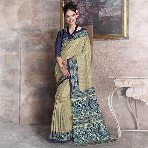 Desirable Beige-Blue Colored Kalamkari Printed Art Silk Saree