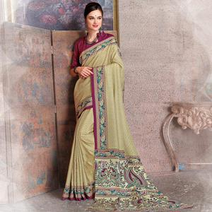 Impressive Beige-Pink Colored Kalamkari Printed Art Silk Saree