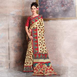 Refreshing Beige-Red Colored Kalamkari Printed Art Silk Saree