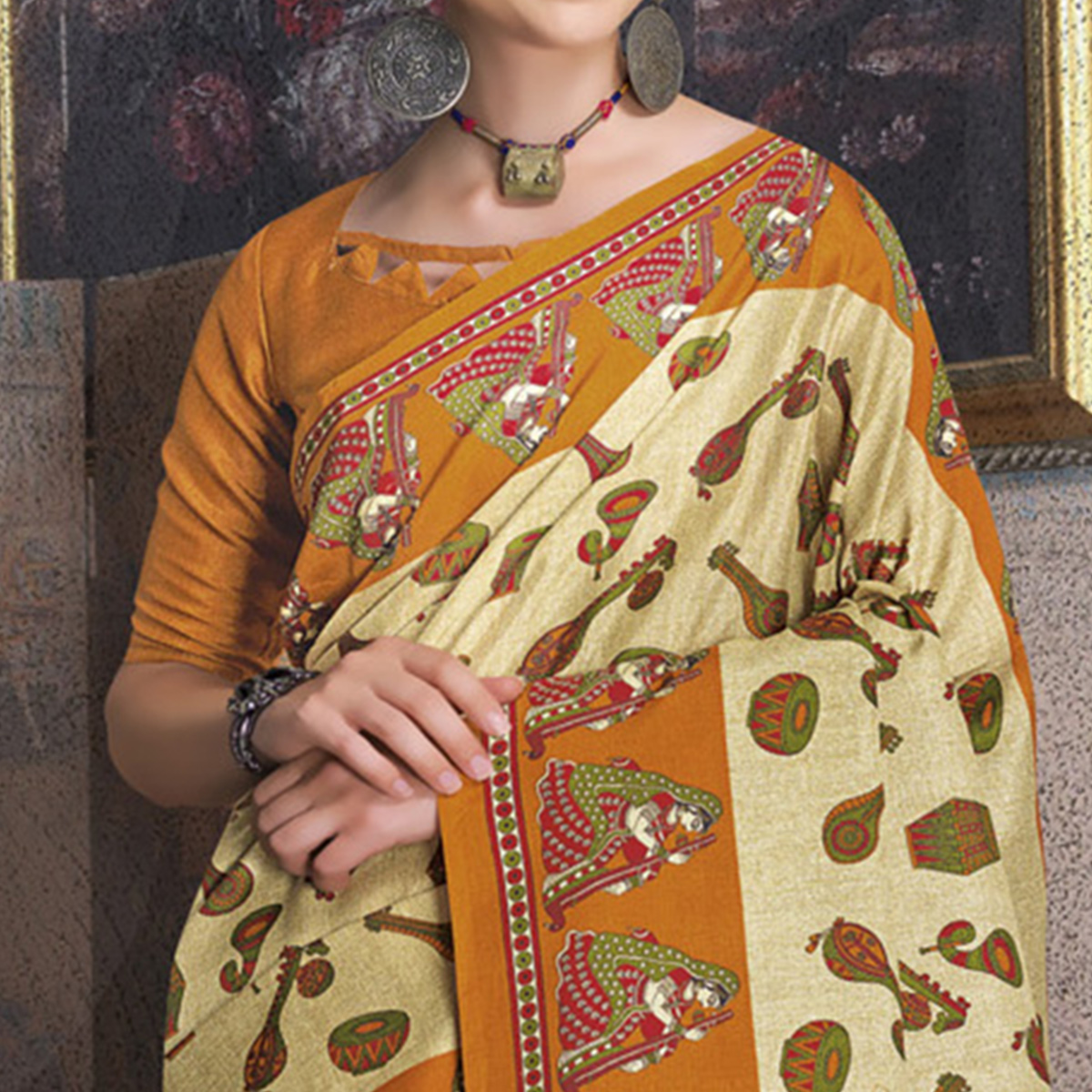 Gleaming Beige-Yellow Colored Kalamkari Printed Art Silk Saree