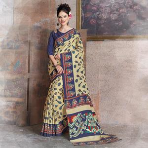 Mesmerising Beige-Blue Colored Kalamkari Printed Art Silk Saree